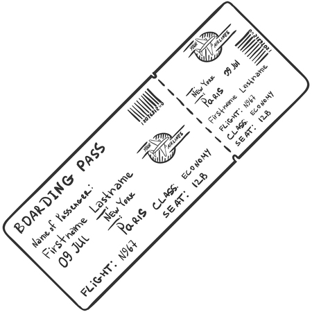 single sketch: Vector Single Sketch Avia Ticket on White Background