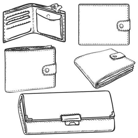 billfold: Vector Set of Sketch Wallets on White Background Illustration