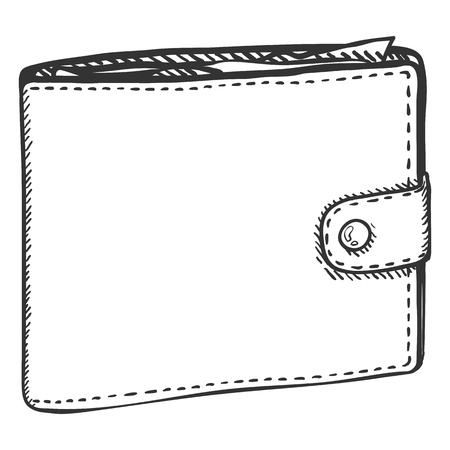 billfold: Vector Single Sketch Leather Wallet on White Background