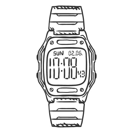 Vector Sketch Classic Digital Wrist Watch on White Background Illustration