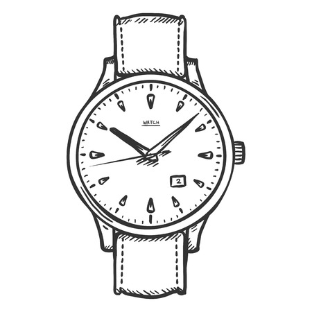 Vector Sketch Retro Wrist Watch on White Background
