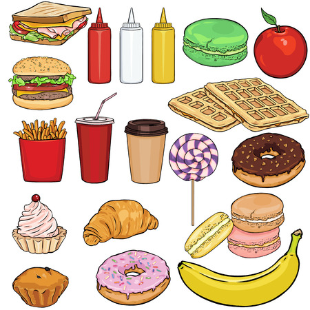 Vector Set di Snack Items. Fast Food, bevande, dessert e frutta su sfondo bianco