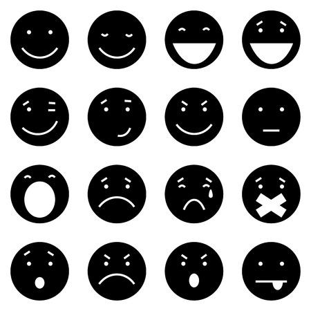 Vector Set of 16 Black Emoticons on White Background