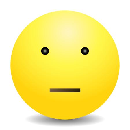 apathetic: Vector Single Yellow Gradient Emoticon on White Background