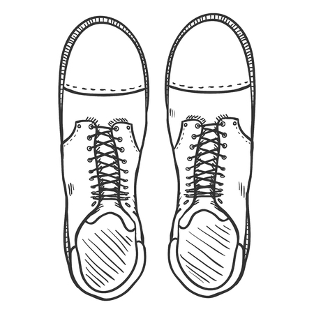 army boots: Vector Sketch Illustration - High Leather Army Boots Illustration