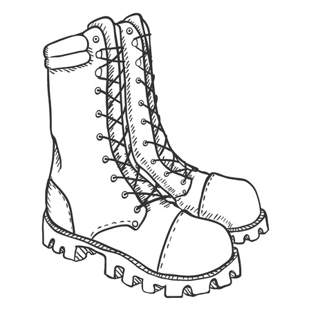 foot soldier: Vector Sketch Illustration - High Leather Army Boots on White Background Illustration