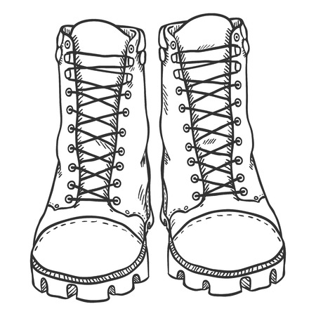 Vector Sketch Illustration - High Leather Army Boots Vetores