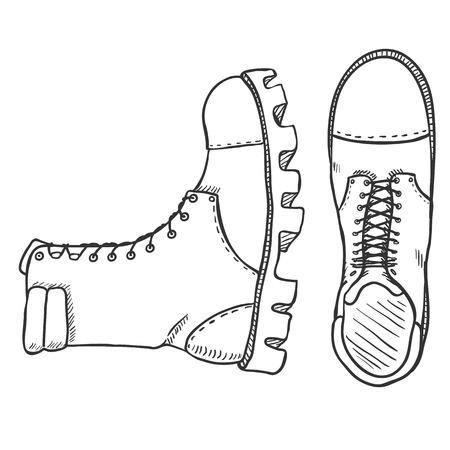 Vector Sketch Illustration - High Leather Army Boots Ilustração