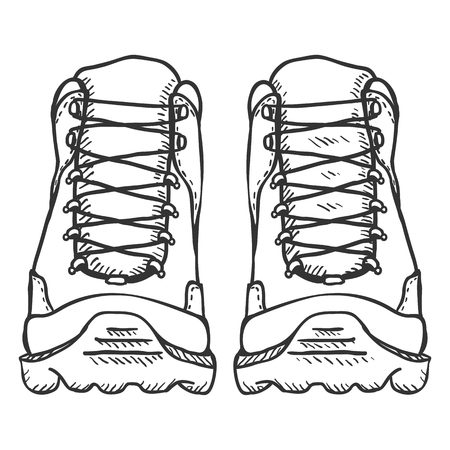 Vector Sketch Illustration - Extreme Hiking Boots on White Background