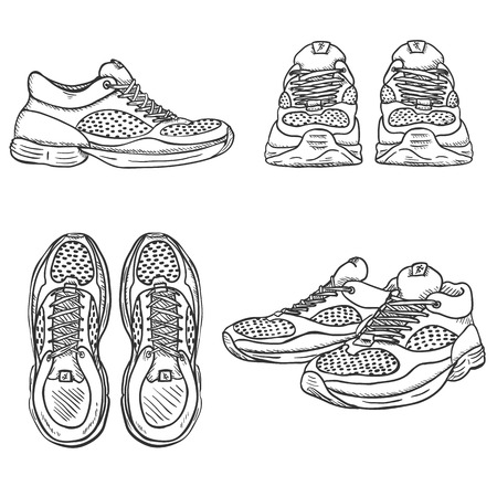 cross match: Vector Set of Sketch Running Shoes. Top, Side and Front Views.