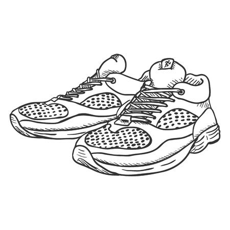 Vectorschetsillustratie - Paar loopschoenen op witte achtergrond