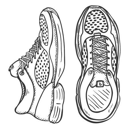 cross match: Vector Sketch Illustration - Pair of Running Shoes Illustration