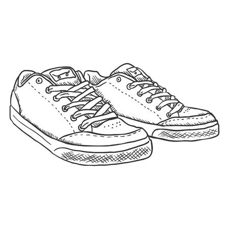 skaters: Vector Sketch Illustration - Pair of Skaters Shoes on White Background