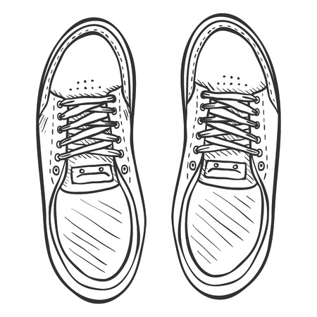 skaters: Vector Sketch Illustration - Pair of Skaters Shoes. Top View. Illustration