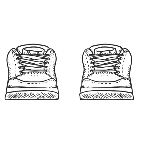 skaters: Vector Sketch Illustration - Pair of Skaters Shoes. Front View. Illustration