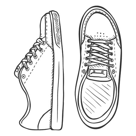 skaters: Vector Illustration - Pair of Skaters Shoes. Front and Top View.