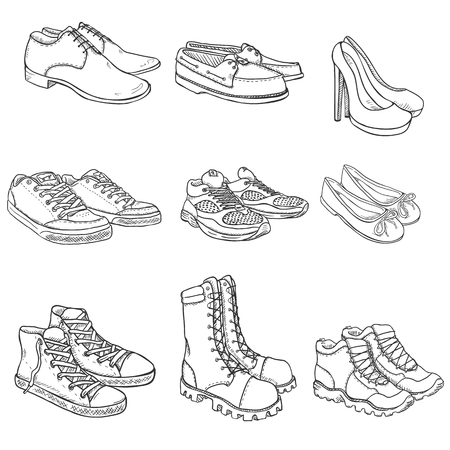foot soldier: Vector Set of Sketch Shoes Items on White Background Illustration