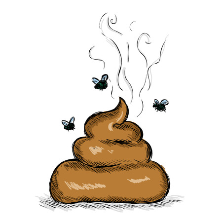 Vector Color Sketch Illustration - Pile of Shit with Flies on White Background