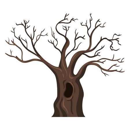 Vector Single Cartoon Brown Bare Oak Tree on White Background