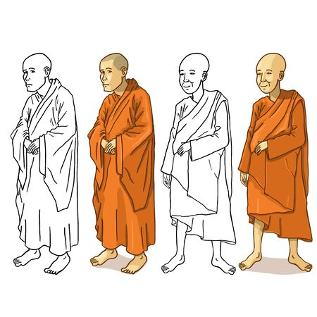 buddhist: Vector Set of Buddhist Monk Characters on White Background