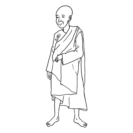 lineart: Vector Single Lineart Buddhist Monk on White Background
