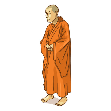 buddhist: Vector Single Cartoon Buddhist Monk on White Background