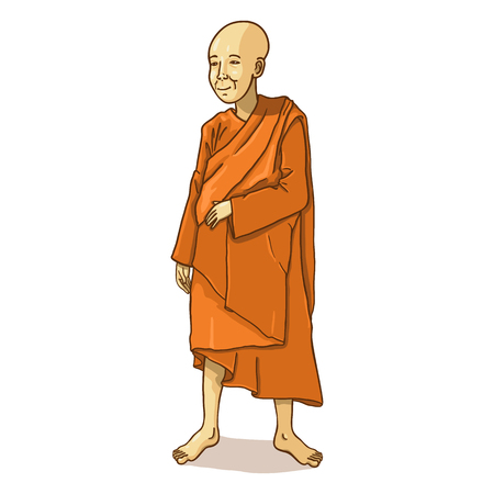 buddhist monk: Vector Single Cartoon Buddhist Monk on White Background