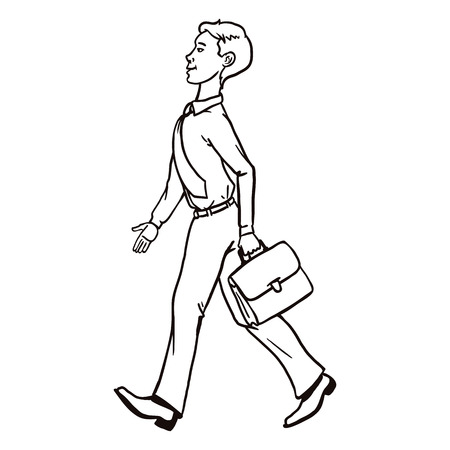 Vector Single Line Art Business Character. Walking Office Worker with a Briefcase. Illustration
