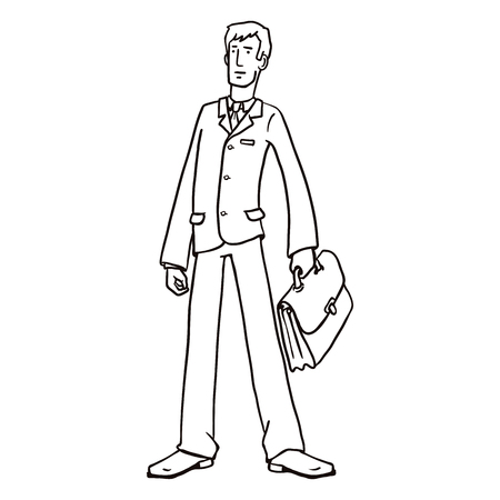 Vector Line Art Business Character with a Briefcase. Office Worker Illustration