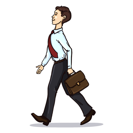 Vector Single Cartoon Business Character. Walking Office Worker with a Briefcase. Illustration