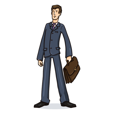 Vector Cartoon Business Character with a Briefcase. Office Worker