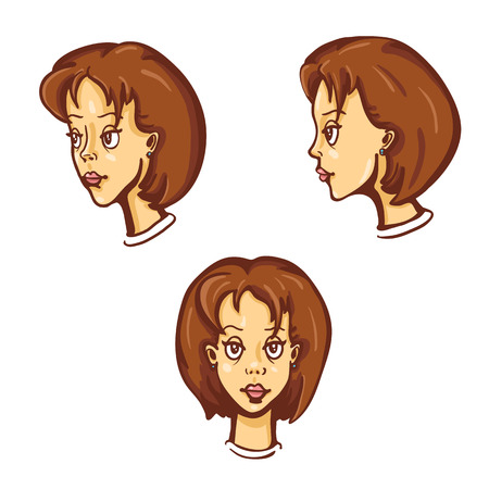the appearance: Vector Set Of Cartoon Female Character Faces