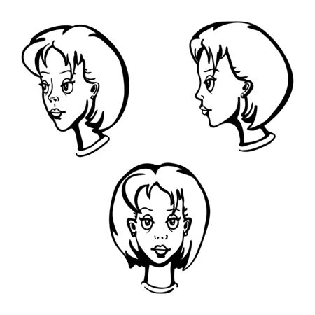 lineart: Vector Set Of Lineart Female Character Faces