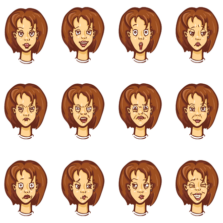 Vector Set of Cartoon Female Character Emotions