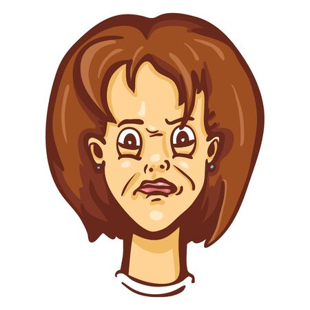 Vector Single Cartoon Female Character Emotion. Confused Woman