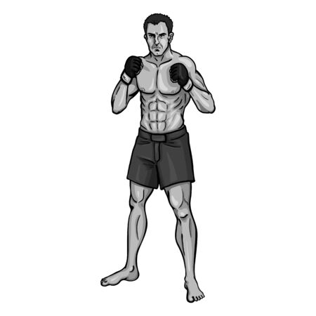 grappling: Vector Single Cartoon MMA Fighter on White Background Illustration