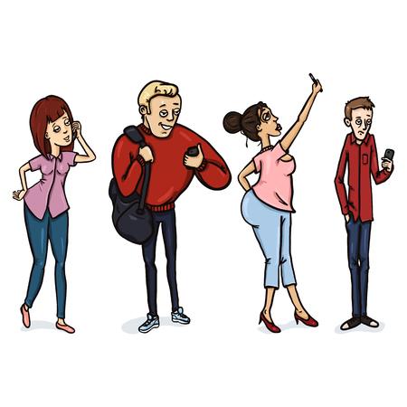 deportes caricatura: Vector conjunto de personajes de dibujos animados con teléfonos celulares