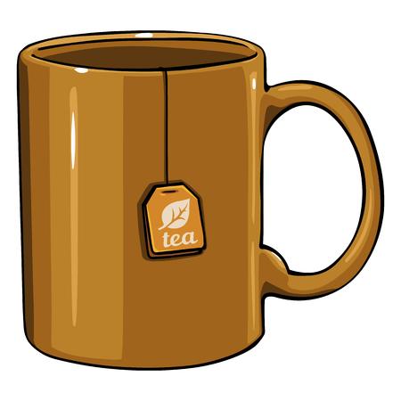 Vector Cartoon Brown Single Mug with tea bag on White Background Illustration