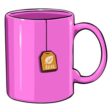 Vector Cartoon Pink Single Mug with tea bag on White Background