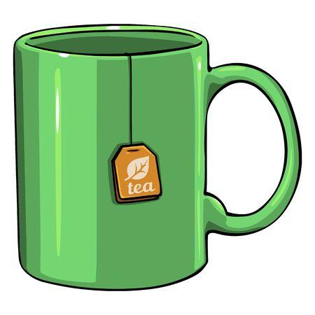 Vector Cartoon Green Single Mug with tea bag on White Background