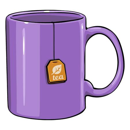 Vector Cartoon Purple Single Mug with tea bag on White Background