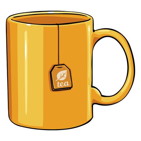 Vector Cartoon Yellow Single Mug with tea bag on White Background
