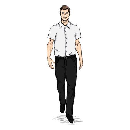 he is beautiful: Vector Sketch Men Model in Short Sleeve Shirt. Business dress code.