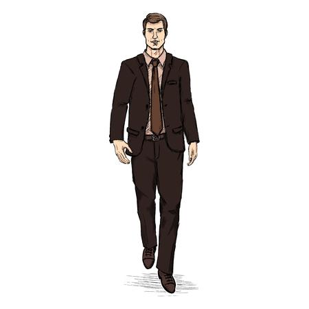 Vector Sketch Men Model in Suit. Business dress code.