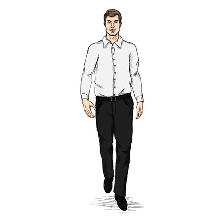 long sleeve shirt: Vector Sketch Men Model in Long Sleeve Shirt and Trousers. Business dress code.