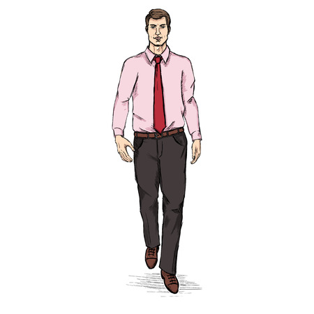 he is beautiful: Vector Sketch Men Model in Shirt and Tie. Business dress code. Illustration