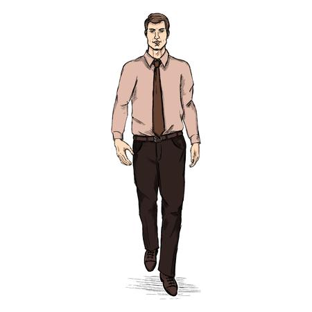 he is beautiful: Vector Sketch Men Model in Shirt and Tie. Business dress code. Illustration
