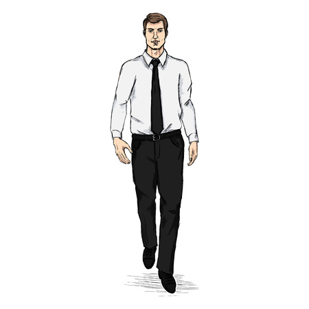 formalwear: Vector Sketch Men Model in Shirt and Tie. Business dress code. Illustration