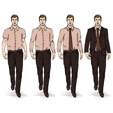 he is beautiful: Vector Set of Sketch Men Models. Business Dress Code.