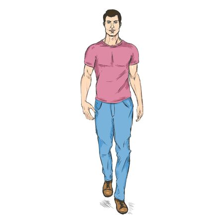he is beautiful: Vector Single Sketch Illustration - Fashion Male Model in Trousers and T-Shirt Illustration